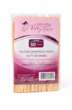Palitos Chanfro e Ponta de Bambú Vilty Care com 50 unidades