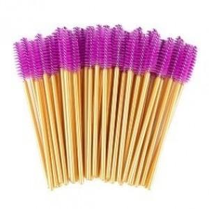 Escovinha descartável para cilios / sobrancelha cores sortidas com 50 unidades