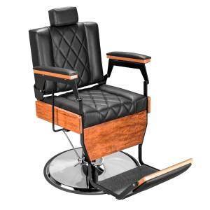 Cadeira de Barbeiro Barber Wood Base Cromada