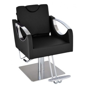 Cadeira Hidráulica Reclinável base Quadrada Inox Dali Terra Santa-Preto
